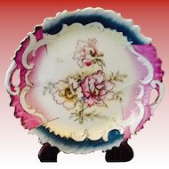 Pierced Handle Hand Painted Plate