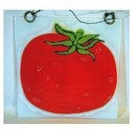 Higgins Art Glass Wall Plaque of Bright Red Tomato