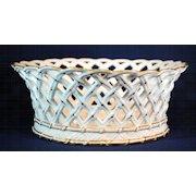 19th Century Sevres Porcelain Basket Weave Chestnut Bowl