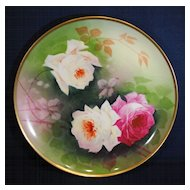 Artist Signed Hand Painted Limoges Plate with Rose Decoration