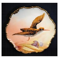 Artist Singed Hand Painted Limoges Game Bird Plate