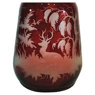 Ruby Flash Cut to Clear Bohemian Glass Decanter