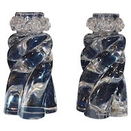 Pair of Baccarat Crystal Twist Form Candlesticks