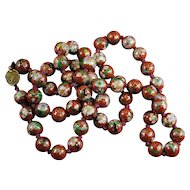 Vintage 28 inch long Chinese Hand Knotted Red Cloisonne Beaded Necklace