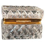 Cut Glass Crystal Hinged Jewelry Casket or Trinket Box