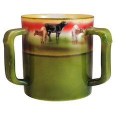 Royal Bayreuth 3 Handle Loving Cup Mug with Cow Decoration - Red Tag Sale Item