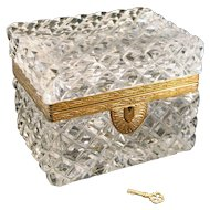 French Style Bronze Mounted Cut Glass Crystal Hinged Box or Jewelry Casket