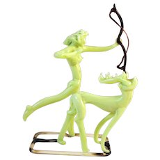 Bimini Art Glass Sculpture of Diana the Huntress with Deer