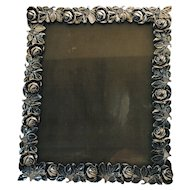 Vintage Rose Border Silver Plate Easel Back Photo Picture Frame