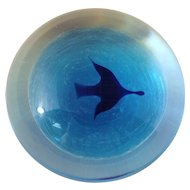 Dominic Labino Blue Bird Contemporary Art Glass Paperweight 1979