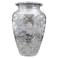 Large Cut and Etched Floral Crystal Art Glass Vase