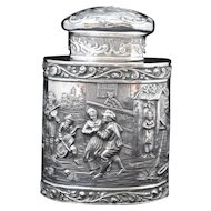 German 800 Silver Repousse Scene or People Drinking and Dancing Tea Caddy