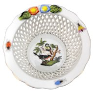 Herend Rothschild Bird Woven Basket Weave Bowl or Trinket Dish