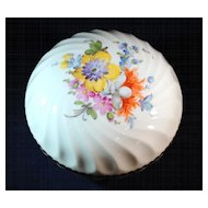 Nymphenburg German Ceramic Trinket, Powder or Jewel Box with Hand Painted Flowers