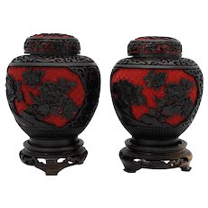 Pair of Chinese Black Lacquer & Red Cinnabar Ginger Jars with Blue Enamel Interiors