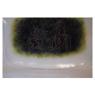 Maurice Heaton Art Glass Plate The Flute Players