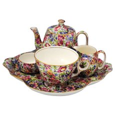 Royal Winton Sunshine Chintz Individual Breakfast Set Teapot Creamer Sugar Cup & Tray