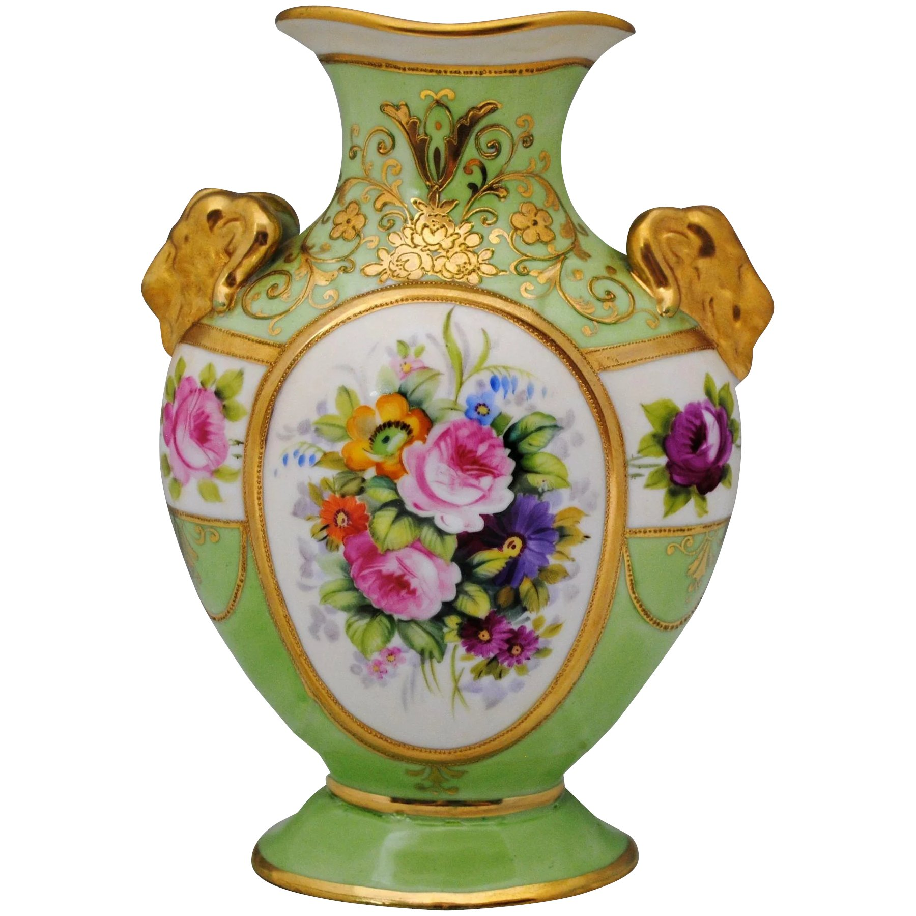 Nippon hand painted floral vase with rams head handles hazen nippon hand painted floral vase with rams head handles click to expand reviewsmspy