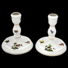 Pair of Herend Rothschild Bird Candlesticks