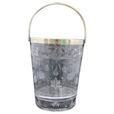 Pairpoint Cut and Engraved Glass Ice Bucket