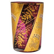 Moser style Cranberry Glass Tumbler with Gold Floral Decoration