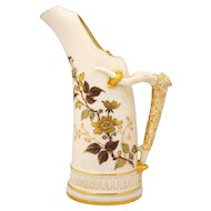 Royal Worcester 1886 Horn Shape Ewer or Vase Floral Decoration