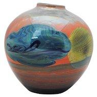 John Lewis Contemporary Art Glass Moonscape Planet Vase 1975