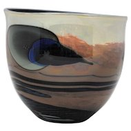 John Lewis Contemporary Art Glass Moonscape Planet Bowl Shape Vase