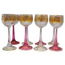 Set of 8 Bohemian or Austrian Rhine or Hock Wine Art Glass Stems or Stemware Gold Decoration