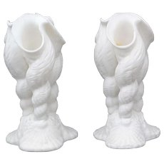 Pair of Parian Bisque Finish Porcelain Sea Shell Form Vases