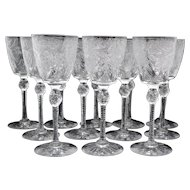 Set of 12 Pairpoint Engraved Art Glass White Wine Goblets Stemware Stem