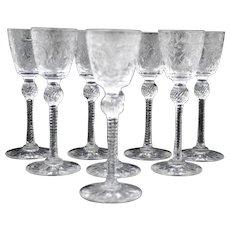 Set of 8 Pairpoint Engraved Art Glass Cordials Stem Stemware