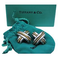 Pair of Tiffany & Co. Sterling Silver and 18K Gold Large X Pierced Earrings