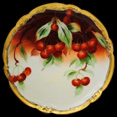 Artist Signed Hand Painted Pickard Cabinet Plate with Cherry Decoration