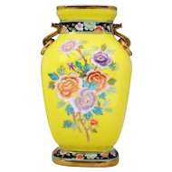 Hand Painted Nippon Vase with Stylized Dragon Handles Floral Decoration and Yellow Ground