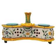 Deruta Italian Majolica Art Pottery Inkwell Italy