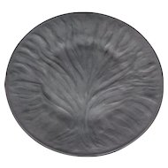 Lalique France Art Glass 11 inch Dinner Plate Charger Algues Noir Black Tree of Life