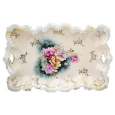 Signed RS Prussia Tray with Pink and Yellow Rose Decoration