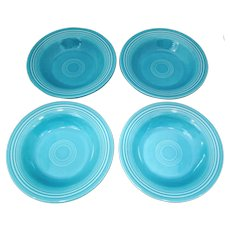 4 Vintage Fiesta Turquoise 8.25 inch  Rim Soup or Salad Bowls