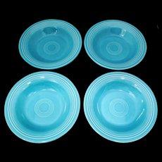 4 Vintage Fiesta Turquoise 8.25 inch  Rim Soup or Salad Bowls