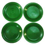 4 Vintage Fiesta Medium Green 9.5 inch Luncheon Plates