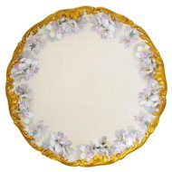 T&V Limoges France Large Round Chop Plate Charger or Serving Platter Pink Wild Roses