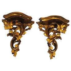 Pair of Italian Carved Wood & Gesso Florentine Gold Gilt Wall Brackets or Shelf Rococo Italy