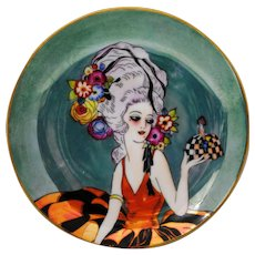 Noritake Art Deco Figural Plate of a Woman Holding a Pin Cushion Doll