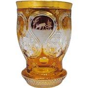 Engraved Deer Castles & Turkey Red and Amber Bohemian Glass Beaker