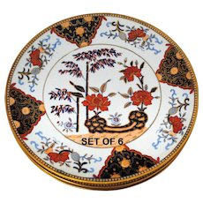 Set of 6 Davenport Stone China Imari Style Decorated Plates
