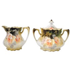 RS Prussia Creamer & Sugar with Yellow Peach Color Roses