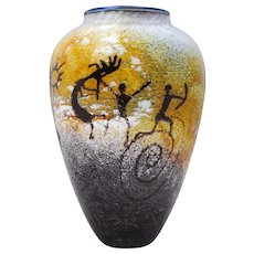 Richard Satava Petroglyph Cave Drawing Contemporary Art Glass Vase