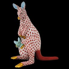 Herend Figurine of a  Kangaroo & Joey in Rust Fishnet Decoration