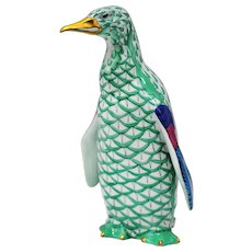 Herend Figurine of a Penguin in Green Fishnet Decoration